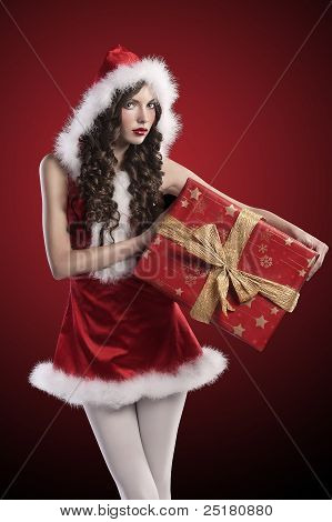 Santa Claus Girl With Huge Red Gift Box