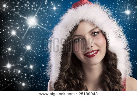 Curly Brunette With Santa Hood