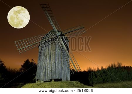 Windmill And Moon