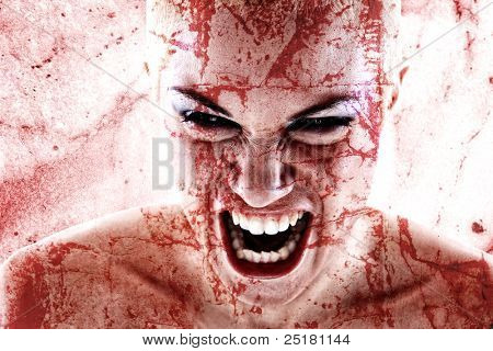 portrait of a bloodstained  woman