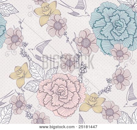 Seamless Floral Pattern. Seamless Pattern With Flowers And Birds. Elegant And Romantic Background