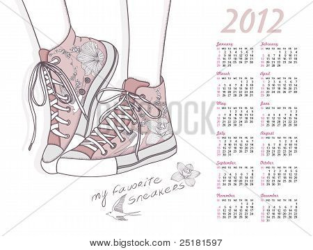 2012 Calendar With Shoes. Shoes With Floral Pattern. Background With Fashionable Sneakers.