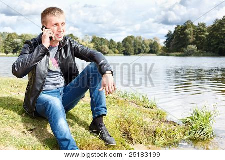 Handsome man calling on mobile phone