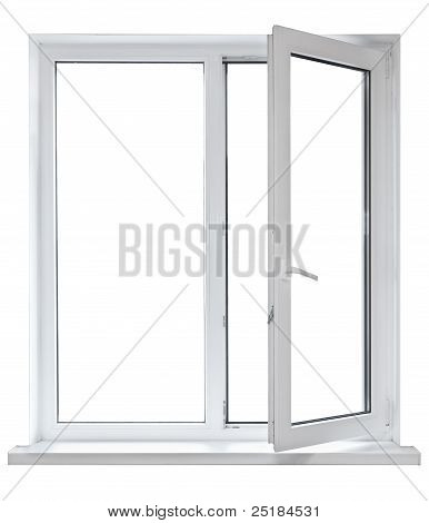 Plastic window with opened door