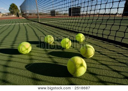 Tennis Balls And Court