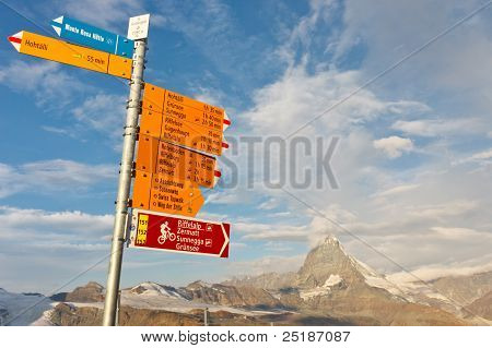 Signpost At Matterhorn, Switzerland