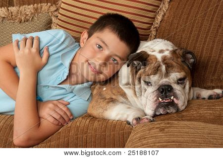Bulldog And Boy