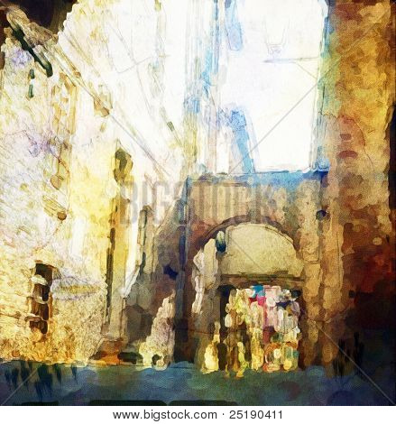 views of Siena, Italy, made in artistic watercolor style.