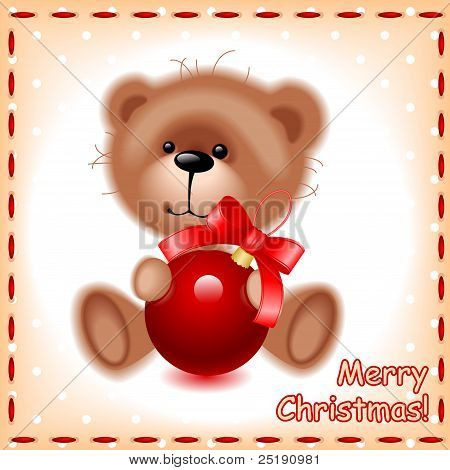 teddy bear with a Christmas ball