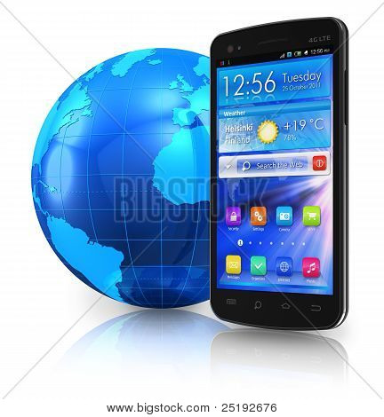 Touchscreen smartphone and blue Earth hlobe