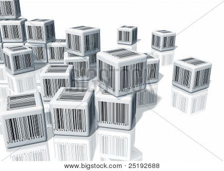 Heap of cubes with barcodes