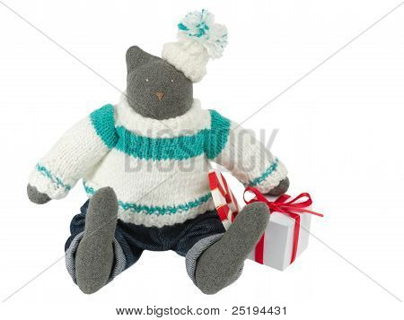 Stuffed Cat Toy In Pants With A Gift Box Alongside