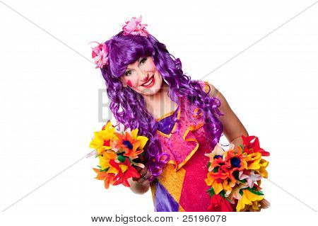 Female Clown With Colorful Flowers