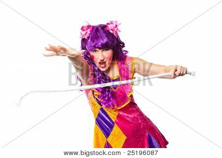 Female Clown Making Focus With Rope