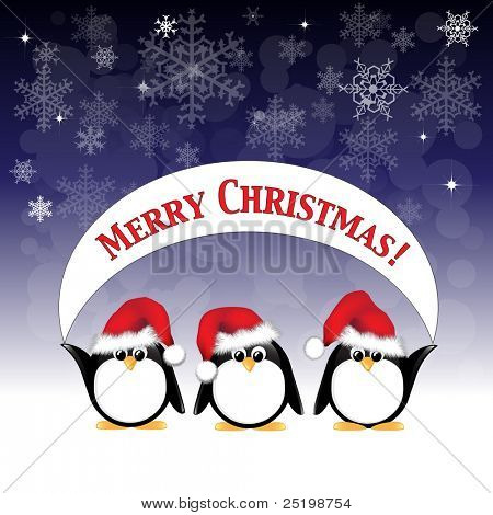 Winter cartoon penguins wearing Santa hats and holding a Merry Christmas banner against a night sky of stars and snowflakes. EPS10 vector format.