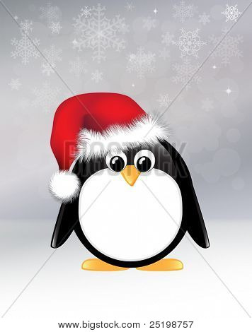 Cartoon penguin on snowflake background. EPS10 vector format