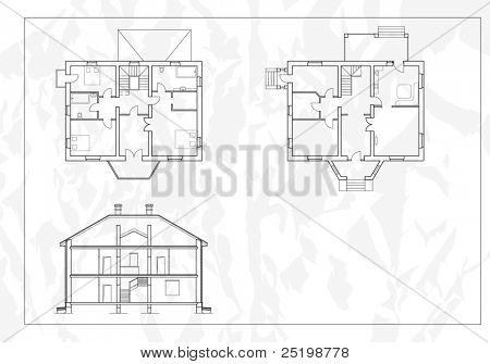 vector House Plans. White outlines on blue background