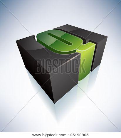 Letra Q tridimensional