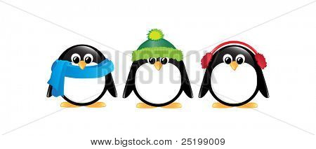 Winter cartoon penguins isolated on white. Also available in vector format.