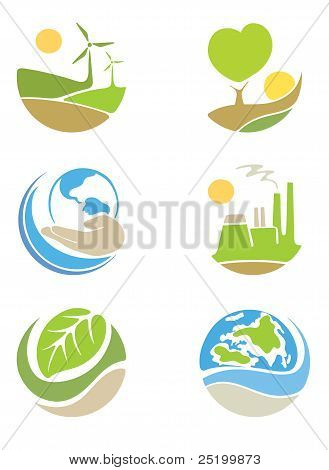 """The icons on the theme """"ecology"""""""