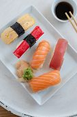 Sushi Set. Sushi Maki, Gunkan And Sushi Rolls poster