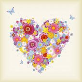 stock photo of san valentine  - floral heart with butterflies  - JPG