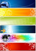 six colorful banners on different topics