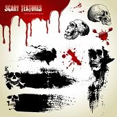 Halloween vector set: scary textures, skulls and blood