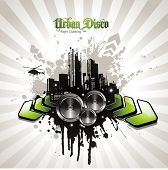 urban party design element with speakers poster