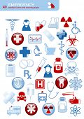 image of toxic substance  - set of 40 simple medical icons and warning signs - JPG
