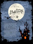 image of cross hill  - grungy Halloween background with haunted house - JPG