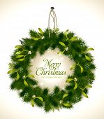 realistic christmas wreath with fir and mistletoe - rope and nail are grouped and easily removable