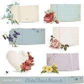 vector set: floral paper banners - variety of old sheets of paper with romantic flowers (no mesh or