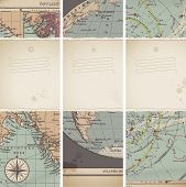 set of three vertical banners based on torn antique maps