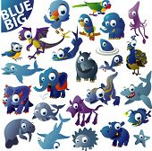 picture of dragon-fish  - extra big vector blue animal set - JPG