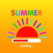 Summer Is Loading, Progress Loading Bar, Banner Design. Vector Illustration. Eps 10 poster