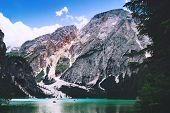 Braies Lake (lago Di Braies) At Summer. Largest Natural Lake In Dolomites, South Tyrol, Italy, Europ poster