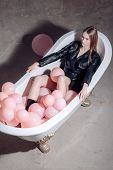 Relax Of Woman In Bath. Relax Of Girl With Balloons poster