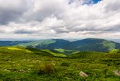 Overcast Sky Over The Mountains. Beautiful Summer Landscape Of Carpathians poster