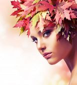 stock photo of beautiful young woman  - Autumn Woman - JPG