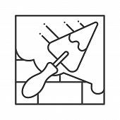 Brick Wall With Triangular Shovel Linear Icon. Putty Knife, Spatula. Thin Line Illustration. Cement  poster
