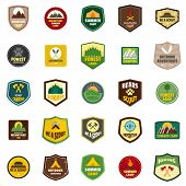 Scout Badge Emblem Stamp Icons Set. Flat Illustration Of 25 Scout Badge Emblem Stamp Vector Icons Is poster