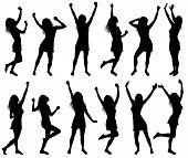 Illustration With Happy Dancing Women Silhouettes Isolated, Vector Illustration poster