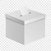 Election Box Mockup. Realistic Illustration Of Election Box Vector Mockup For On Transparent Backgro poster