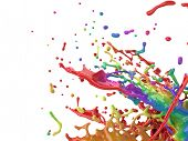 Colorful paint splash creative background. Color paint mix splattered. 3D rendering. poster