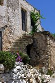 Ruins of mediterranean house with outgrowing vegetiation poster