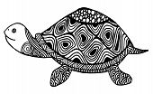 Turtle Coloring Book For Adults Vector Illustration. Anti-stress Coloring For Adult. Zentangle Style poster