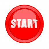 image of start over  - Big red Start button isolated over white background - JPG