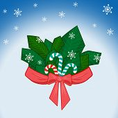 Winter Stripe Branch With Bow And Ribbon, Sweet Candy And Snowflakes On Blue Background With Light E poster