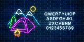Neon Camping Sign With Tent, Bonfire, Mountains, Spruce And Alphabet. Glowing Web Banner For Summer  poster